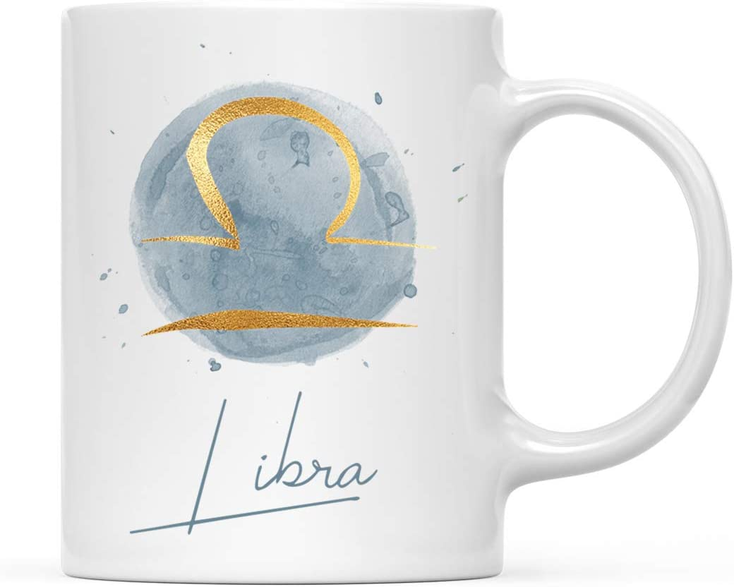 Andaz Press Astrological Zodiac Star Sign 11oz. Coffee Mug Gift, Libra Faux Gold Foil Watercolor, 1-Pack, Horoscope Libra Birthday Christmas Office Cup Gifts Ideas
