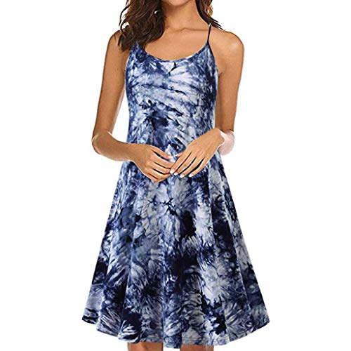 Women's Vintage Printed Sleeveless Strappy Dress TANGSen Ladies Summer Beach Fashion Swing Camis Casual Dress Blue