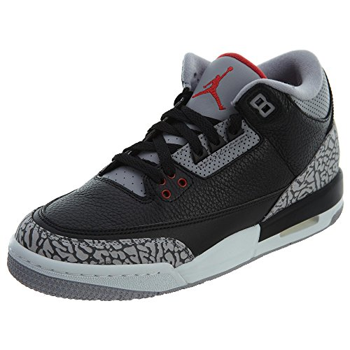Jordan Air 3 Retro OG Big Kids' Basketball Shoes Black/Fire Red/Cement Grey 854261-001 (5.5 M US)