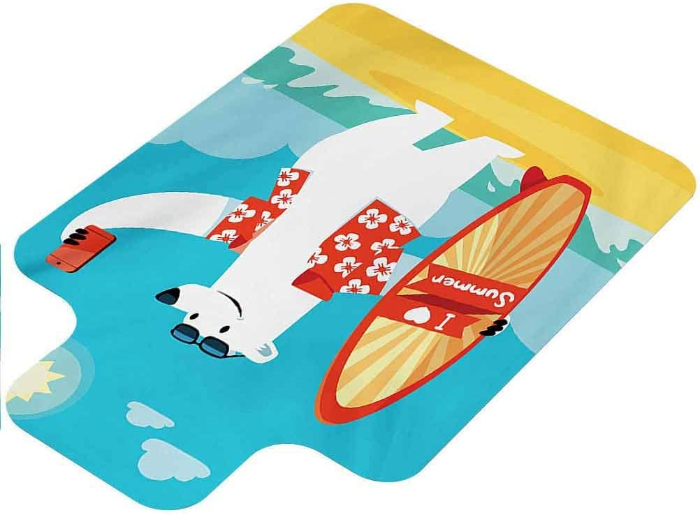 Sea Animals Office Chair Mat, Polar Bear with I Love Summer Surfboard Taking Selfie at Beach Comic Fun Art, 36