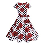 Londony ❤️ 1950s Dress, Women's Bowknot Short Sleeve Vintage Fit and Flare Rockabilly Floral A-Line Hepburn Dress (White❤️, M (Asian Size ))