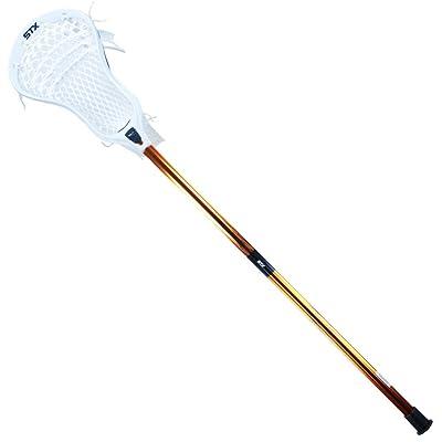 STX K18 U White Sabre Complete Attack Lacrosse Stick in White and Orange