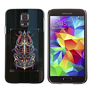 Ihec Tech Arte del cartel del tatuaje abstracto floral Tinta / Funda Case back Cover guard / for Samsung Galaxy S5