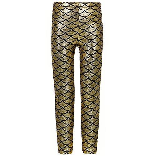 TFJH Kids Baby Girls Mermaid Fish Scale Stretchy Leggings Pants Gold Black 130