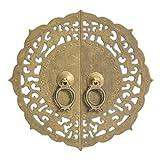 Chinese Brass Hardware Flowering Lotus Cabinet Face Plate 9-7/8''