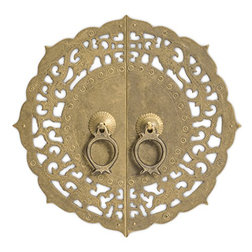 """CBH Flowering Lotus Brass Cabinet Face Plate Backplate Hardware Set 9-7/8"""""""