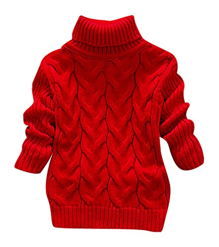 Girls Cashmere Cable (Pupik, Babys' Unisex Thick Cable Knit Roll Neck Solid Color Long Sleeve Sweater, Red 9-12)