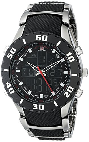 (U.S. Polo Assn. Sport Men's US8163 Bracelet Watch with Black and Gun Metal Band)