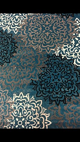 Luxury Linen Collection Oriental Classic Floral Design Area Rug High Pile Heat set New D2077 (5'x 7', Turquoise/Grey)