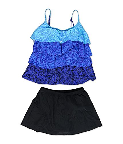 MiracleSuit Womens Lace Tier Skirt 2 Piece Tankini blublk 10 (Miraclesuit Piece Two Tankini)