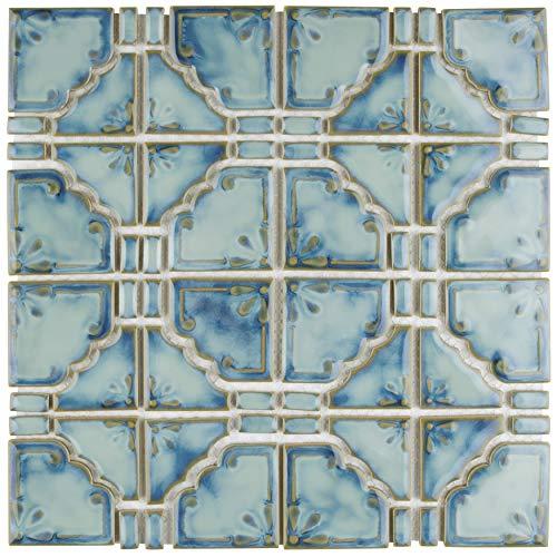 Mosaic Floor Tile - SomerTile FKOMB21 Moonlight Diva Porcelain Floor and Wall Tile, 11.75
