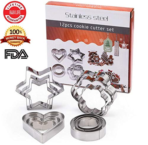 (H&B LIFE Stainless Steel Cookie Pastry Dough Vegetable Cutter, Biscuit Presser,Small Cake Molds, Round Flower Heart Star Shape,12 Pcs Silver)