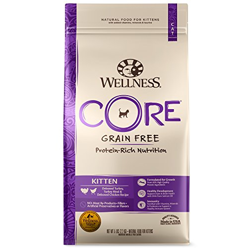 Wellness Core® Natural Grain Free Dry Cat Food, Kitten Turkey & Chicken Recipe, 5-Pound Bag