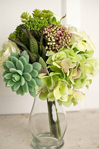 Faux Hydrangea, Rose & Succulent Bouquet in Green and White 12