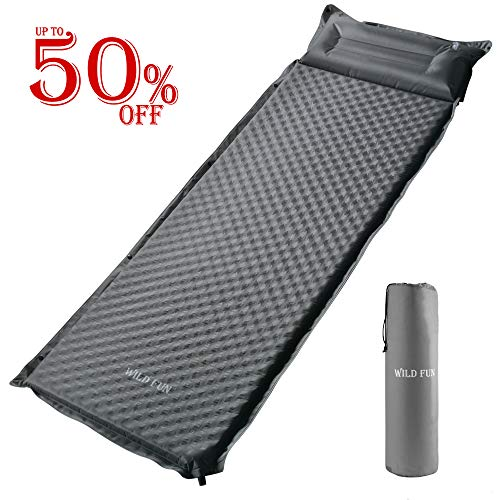WILD FUN Camping Sleeping Pad with Attached Pillow, 1.5 Self-Inflating Sleeping Pad for Hiking Backpacking, Lightweight Connectable Foam Sleeping Mat
