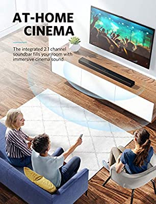 Soundcore Infini Integrated 2.1 Channel Soundbar by Anker, 35-Inch Soundbar for TV with Bluetooth and Wired Connections, Speaker with Built-In Subwoofers, Deep Bass, and Remote Control for Home Theate
