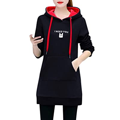 Sttech1 Women Long Sleeves Cat Printed Hooded Sweatshirts Long Pullover Tops Dress with Convex Shape Pocket: Clothing