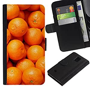 UberTech / Samsung Galaxy S5 Mini, SM-G800, NOT S5 REGULAR! / Mandarin Orange Macro Fruit Tropical / Cuero PU Delgado caso Billetera cubierta Shell Armor Funda Case Cover Wallet Credit Card