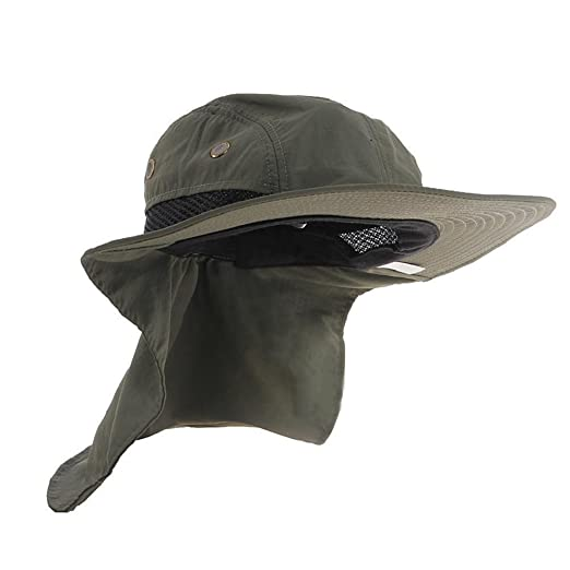 Andannby Women   Mens boonie Hat Neck Flap Cover Wide Brim Cap Fishing 2f18b6660494