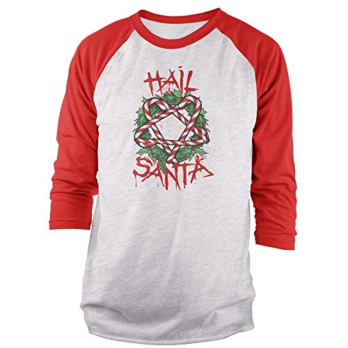 Vine Fresh Tees - Hail Santa 3/4 Sleeve Raglan T-Shirt - Large, Ash w/Red