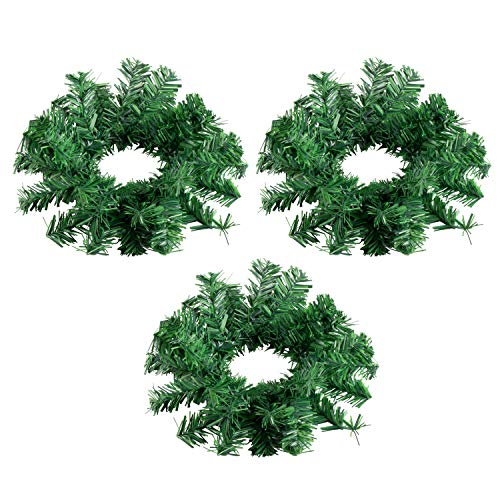 Juvale Christmas Candle Ring - 3-Pack Artificial Pine Mini Wreath, Plain Greenery Design, Festive Pillar Candle Holder Centerpiece Decoration, Holiday Party Ornament, Green, 11.5 Inches