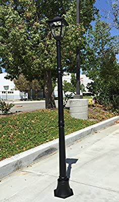 TruePower Cast Aluminum Solar Powered COB LED Streetlight Style Outdoor Light Lamp Post, Black