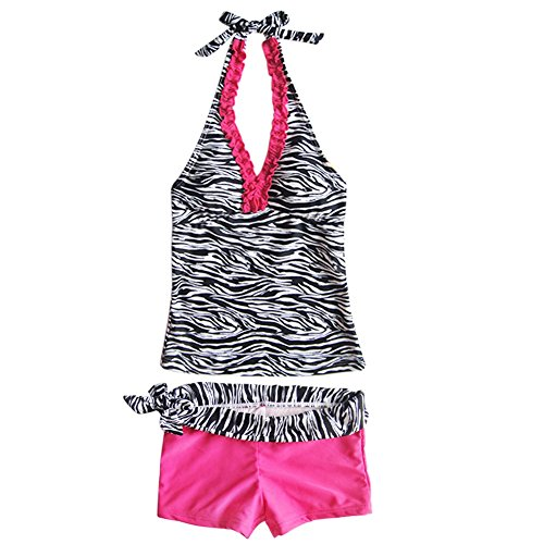 2 Piece Zebra Bikini - iEFiEL Big Girls' Youth 2 Piece Zebra Halter Tankini Swimwear Bathing Suit Pink Size 9-10