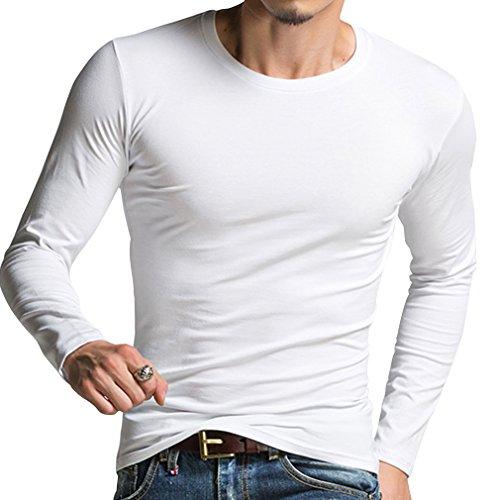 Honghu Camiseta básica de manga larga para Hombre Tamaño S Blanco
