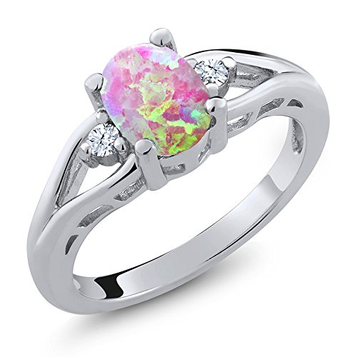 Gem Stone King 1.13 Ct Oval Cabochon Pink Simulated Opal White Created Sapphire 925 Silver 3 Stone Ring (Size 7)