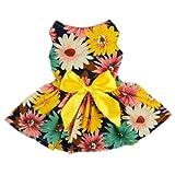 Fitwarm Pet Elegant Floral Ribbon Dog Dress Shirt Vest Sundress Clothes Apparel, XX-small