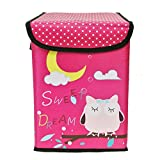 Wrapables Children's Owl Foldable Storage Bin for Clothes and Toys, Hot Pink