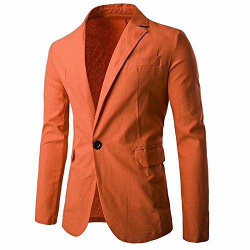 Slim z De Manteaux Vestes Orange Costume Pour Un Qiyun Blazer Bouton Occasionnels Solides Hommes Fit 8SUqdH