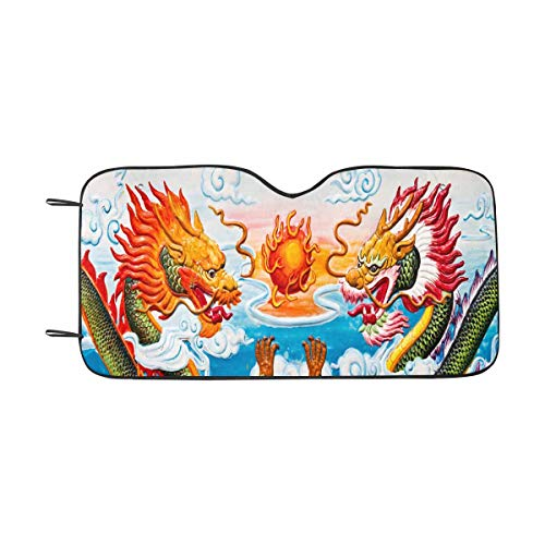 INTERESTPRINT Dragon Statue in Chinese Temple, Thailand Auto Sun Shades Foldeable, Front Car Window Shade