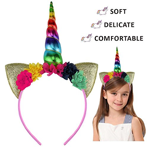 [Halloween Unicorn Horn Ears Headband - Rainbow with Flowers Headpiece Cosplay Costume Accessory] (Head Only Costumes)