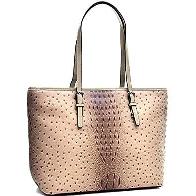 Dasein Women's Large Zip Top Multifunction Buckle Tote Bag Shoulder Purse Handbag 2591 Beige