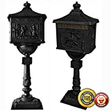 New Heavy Duty Mailbox Postal Box Security Cast Aluminum Vertical Pedestal-Black