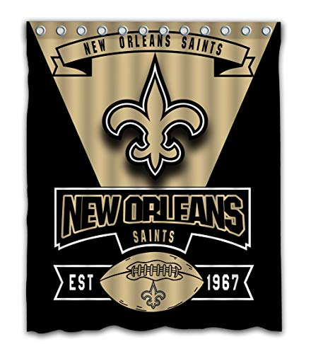 Weckim Custom New Orleans Football Team Waterproof Fabric Shower Curtain Colorful Design for Bathroom Decoration Size 60x72 Inches ()