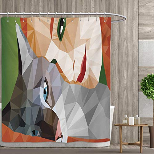 smallfly Animal Patterned Shower Curtain Geometrical Mosaic Little Cute Cat and Owner Women Smiling Sleeping Couple Image Shower Curtain Collection by 66