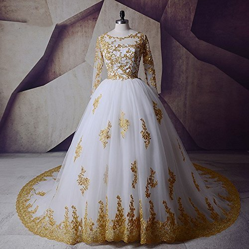 White and Gold Applique Ball Wedding Dresses for Bride with Long Sleeves