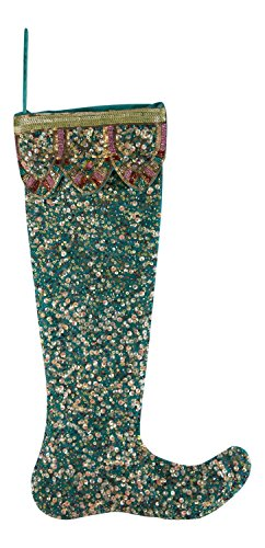 Bohemian Peacock Teal Beaded Sequined Christmas Holiday Stocking - Katherines Collection Christmas Stocking