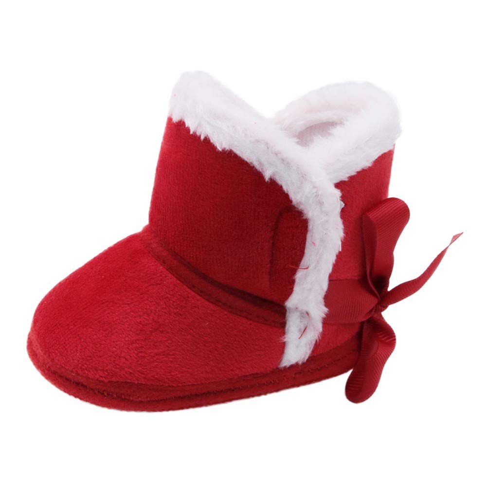 Miyanuby Chaussure Bebe Fille, Botte Fille Semelle Souple Chaussures Polaires Chaudes d'hiver, Bottines Bebe Fille 0-18 Mois