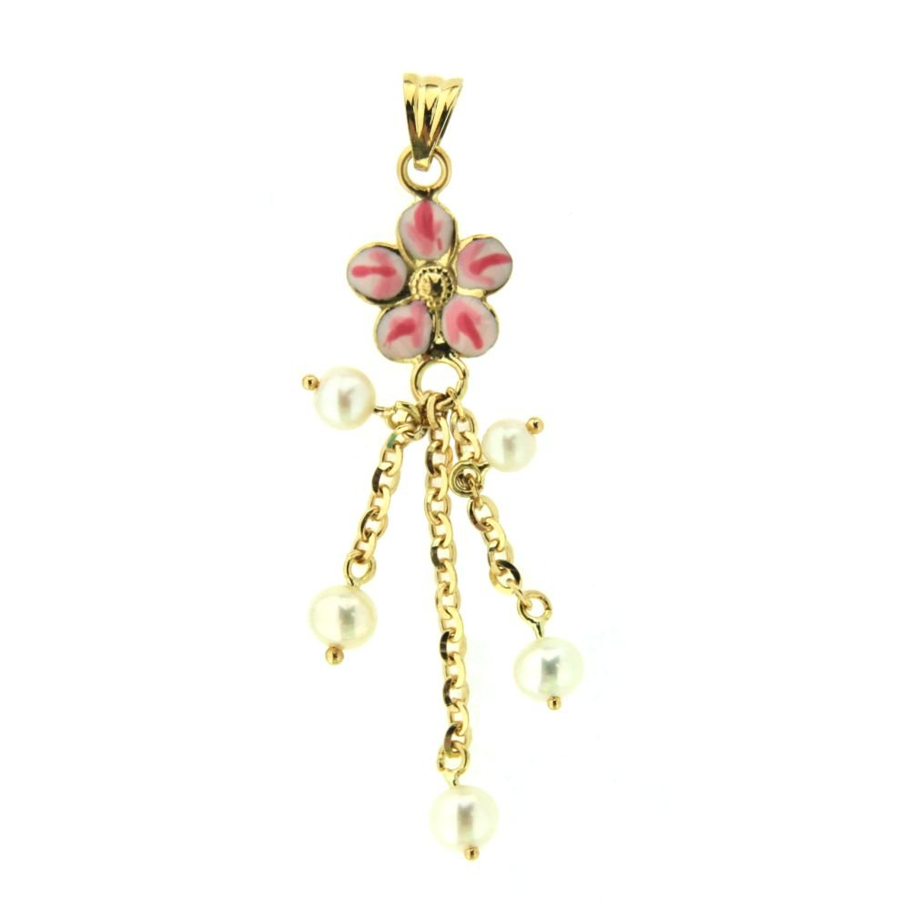 18K Yellow Gold cultivated pearl and Pink Flower Charm (32mm/41mm with Bail)