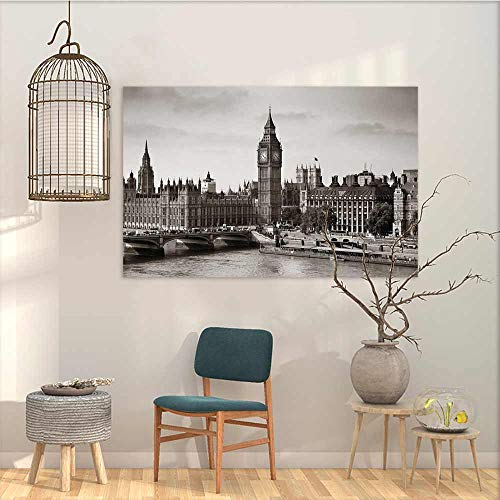 Oncegod Canvas Wall Art Sticker Murals London Westminster with Big Ben and Bridge Nostalgic Image British Antique Architecture Oil Canvas Painting Wall Art Sepia White W31 xL23