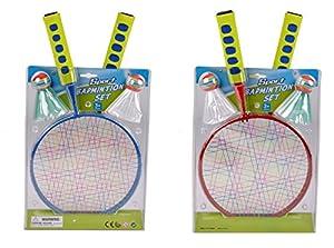 Kinder Badminton Set 2 Stk Federball mit großen Köpfen kleine Schläger