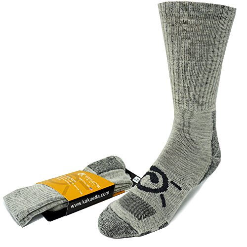 - Kakuetta Trail Hiking Socks - Luxurious Light Weight Merino Wool Tactical Spring & Summer Gear, Made in the USA (Gray, Large)