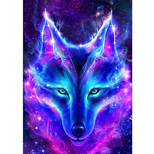 5D DIY Diamond Painting Kits for Adults Full Drill Rhinestone Embroidery Cross Stitch Arts Craft for Home Decor Cool Wolf Head 11.8x15.7in 1 Pack by EJRF-H