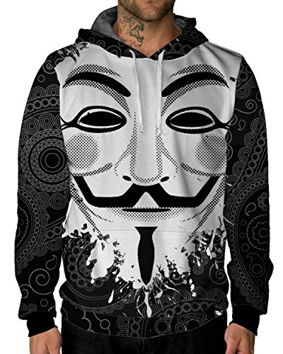 iHeartRaves Guy Fawkes Premium All Over Print Hoodie (XX-Large) - High Society Jacket