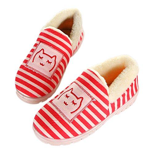 CYBLING Women Warm Indoor Slipper Cute Cotton Plush House Shoes For Winter Red Fc4dDe5ca