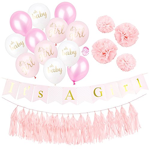 Baby Spirit Its a Girl Baby Shower Decorations | Its A Girl Banner and Mix of 12 Its A Girl, Oh Baby, Plain Balloons | 4 Tissue Paper Pom Poms and Tassels | Pink and Gold Decor Party Supplies