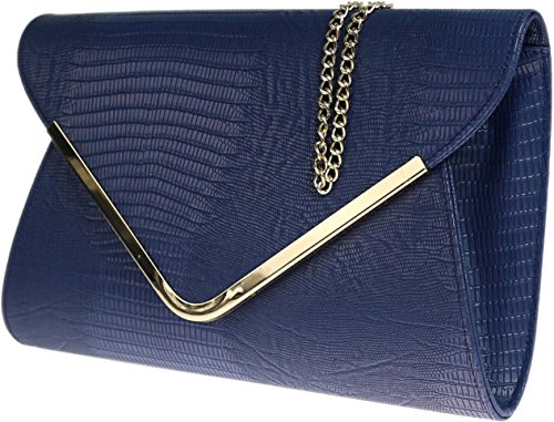 Ladies Croc Envelope Navy Flat amp;G Clutch Animal Bag Print H Beige Evening 5FOIqw